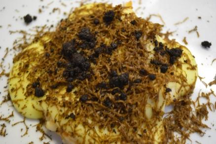 Aardappelpuree, gamba's en zwarte truffel