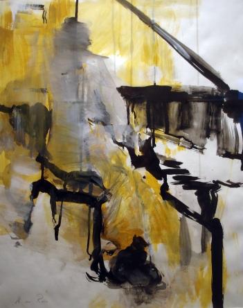 VBK Breda Anneke de Roo Pianiste aquarel en inkt op papier
