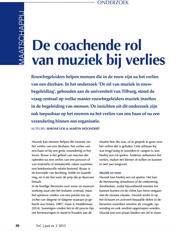 De coachende rol van muziek Simone Vos en Martin Hoondert